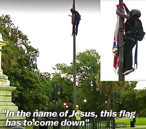 Bree Newsome takes down the Confederate flag in South Carolina, June, 2015