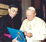 Father Cesáreo Gabaráin with Pope John Paul II