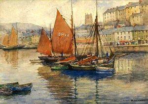 Brixham Harbor by Wilton Lockwood (1861-1914)