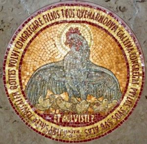 Mosaic on the altar of Dominus Flevit Church on the Mount of Olives