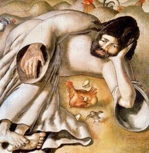 """Christ In the Wilderness -- the Hen"" by Stanley Spencer (1891-1959)"