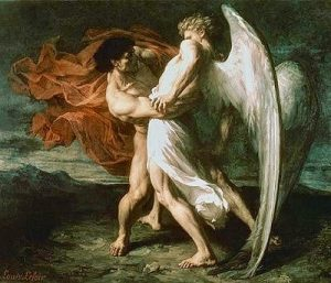 """Jacob Westling with the Angel"" by Alexander Louis Leloir, 1865"