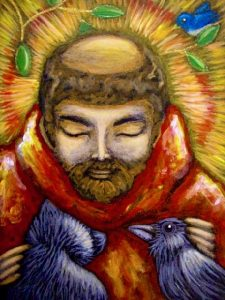 """Saint Francis with Cat and Crow,"" painted by Puerto Rican artist Cyra R. Cancel"