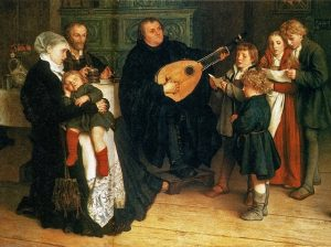 Luther accompanying his family on the lute