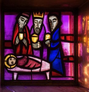 """The Kings Visit Jesus"" stained glass window at Church of Reconciliation, Taize, France"
