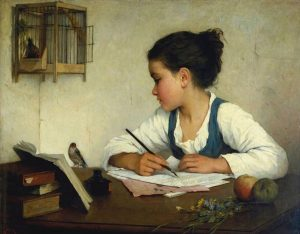 """A Girl Writing"" by Henriette Browne (1829-1901)"