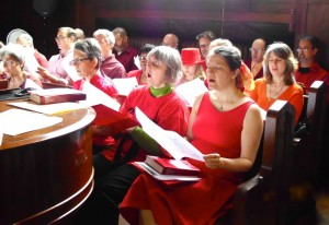 Choir rehearsal one Pentecost a few years ago.