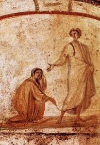 """Christ Healing a Bleeding Woman"" in the fourth-century catacombs of Marcellinus and Peter, Rome"