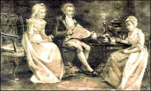 Cowper with Lady Anne Austin, Mary Unwin, and pet rabbit