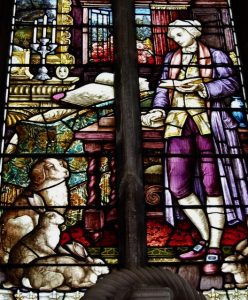 William Cowper Memorial Window, St. Nicholas Church, Dereham, depicted with animal-companions