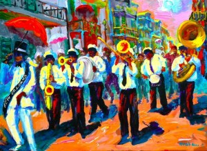 """New Orleans Second Line"" painting by Bob Graham"