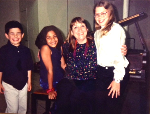 with piano students, 1999